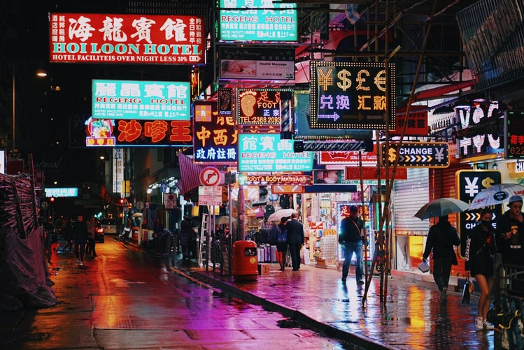 Hong Kong neon signs in street