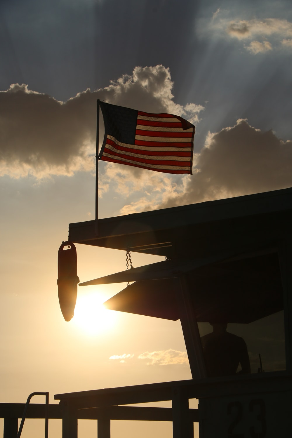 silhouette photography of U.S.A. flag