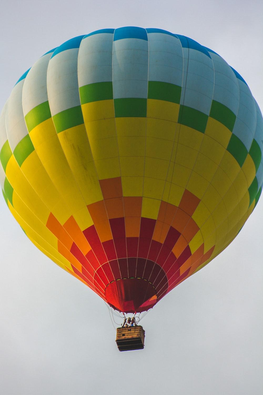 multicolored hot air balloon on air