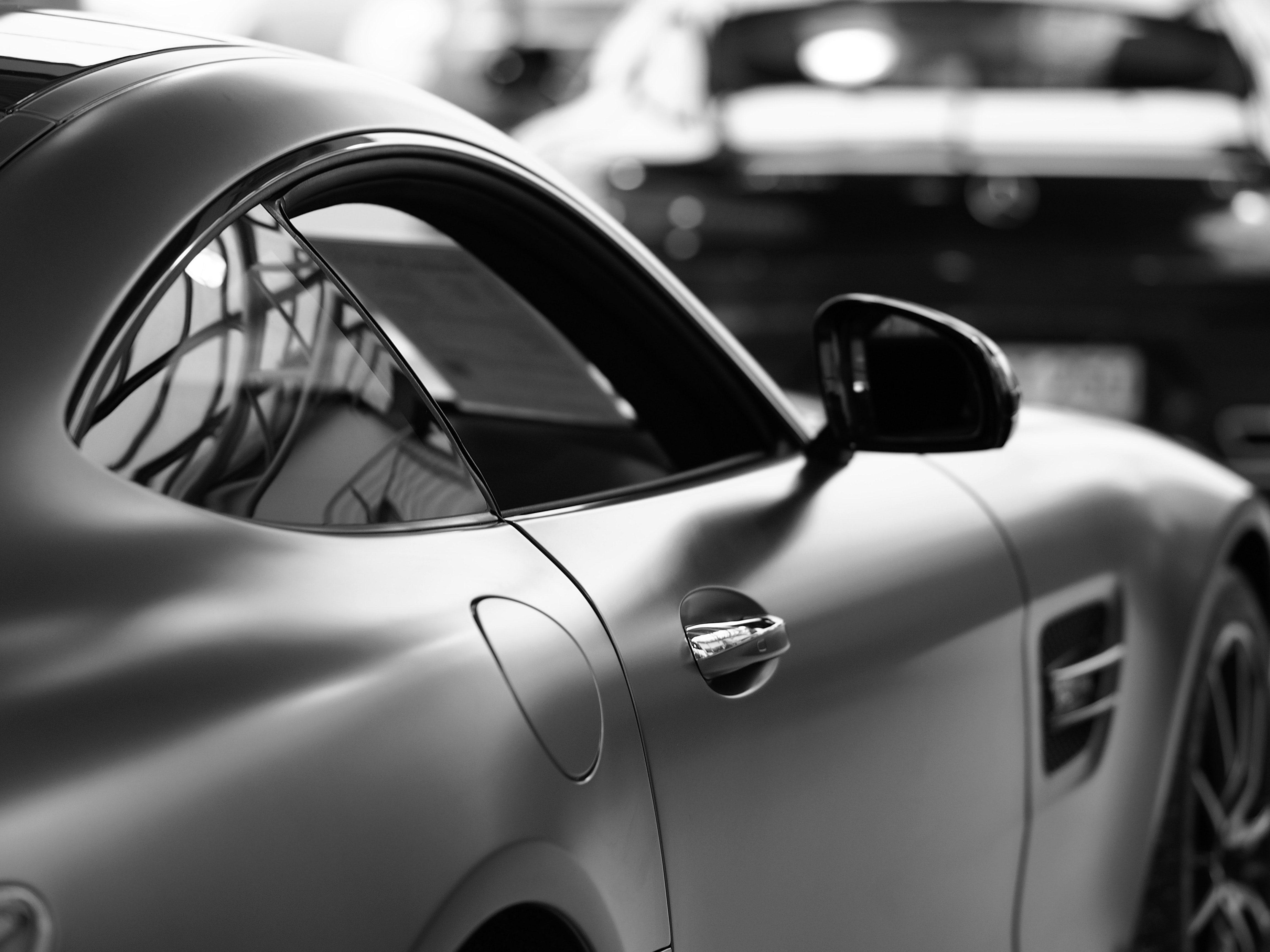 grayscale photo of coupe