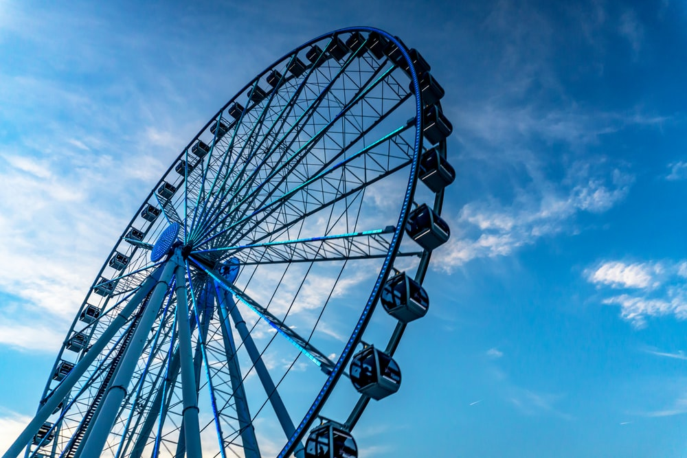 low angel photography of Ferris wheel