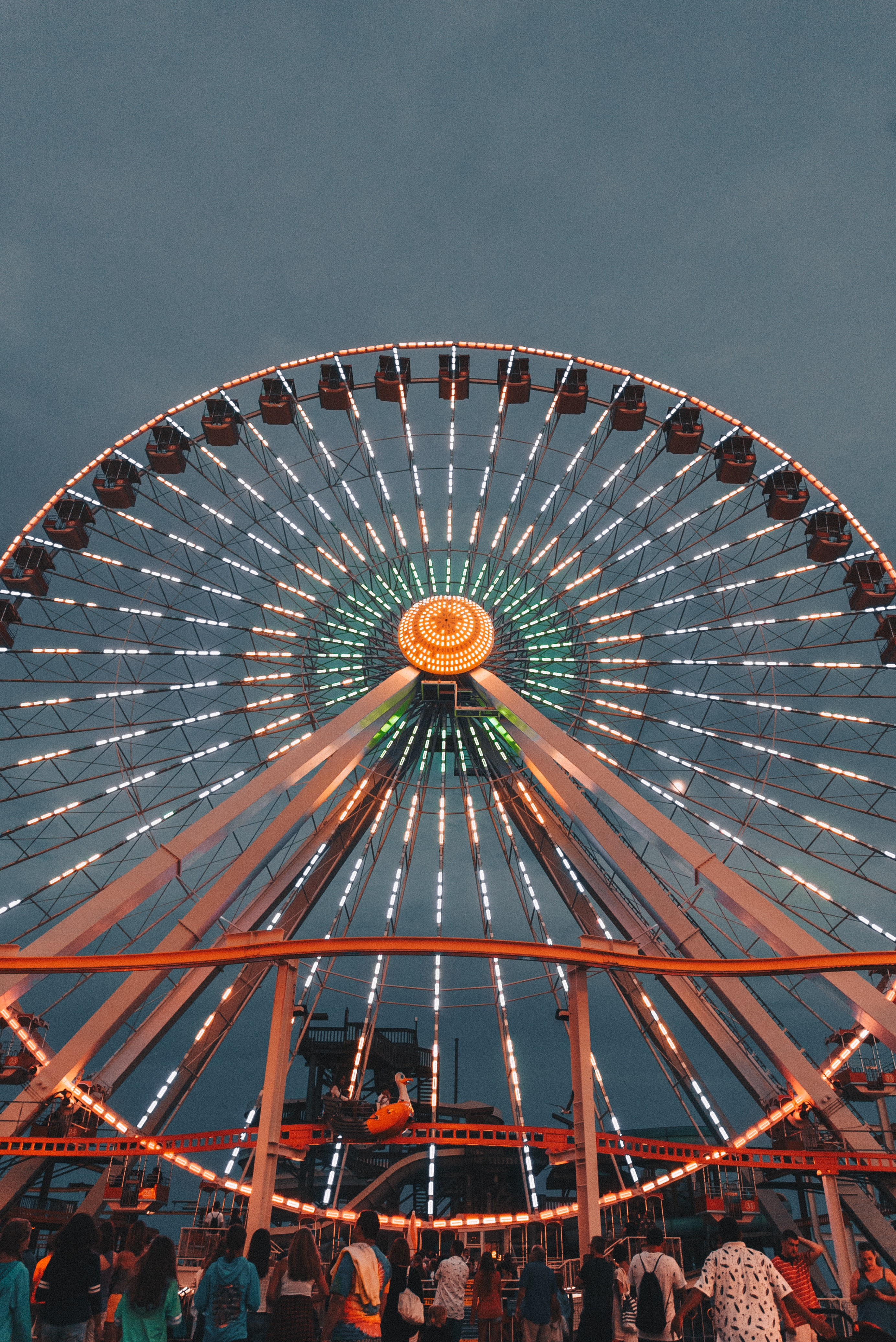 people in front of ferris wheel under gray sky