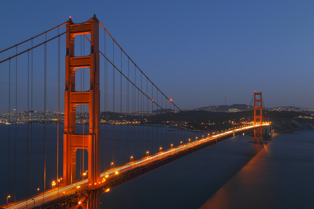 aerial photography of lightened Golden Gate Bridge, San Francisco at night time