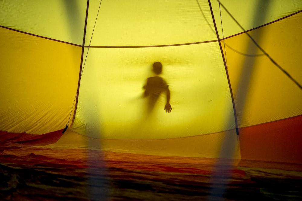yellow and orange tent interior