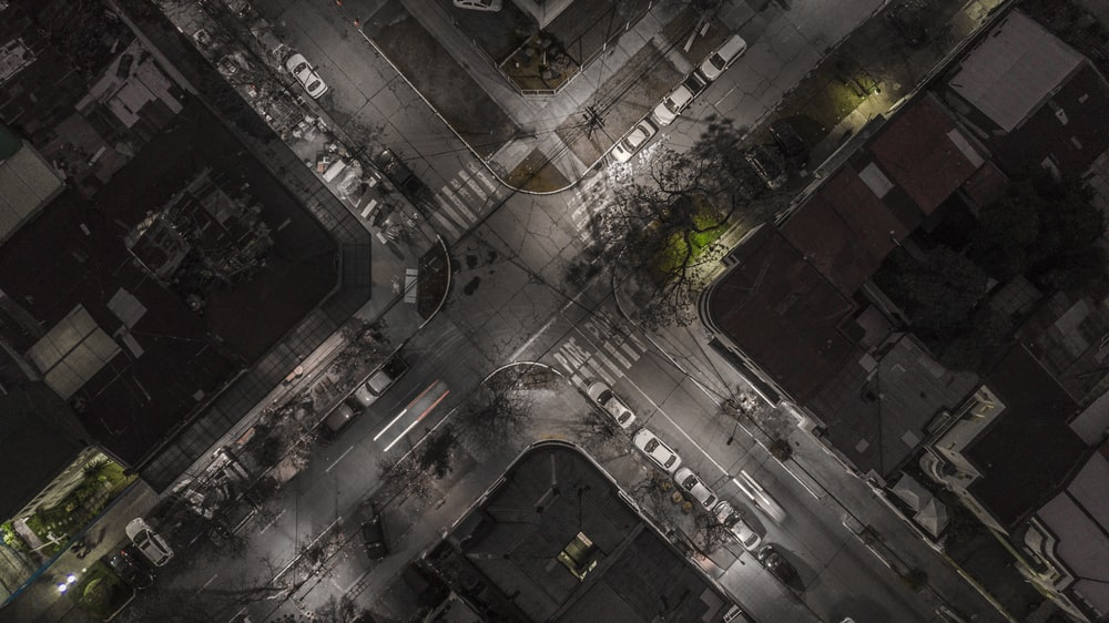 bird's eye photo of assorted-type of cars on road