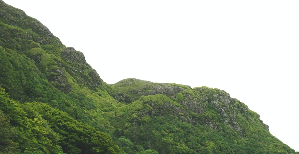 selective photo of green mountain under white sky at daytime