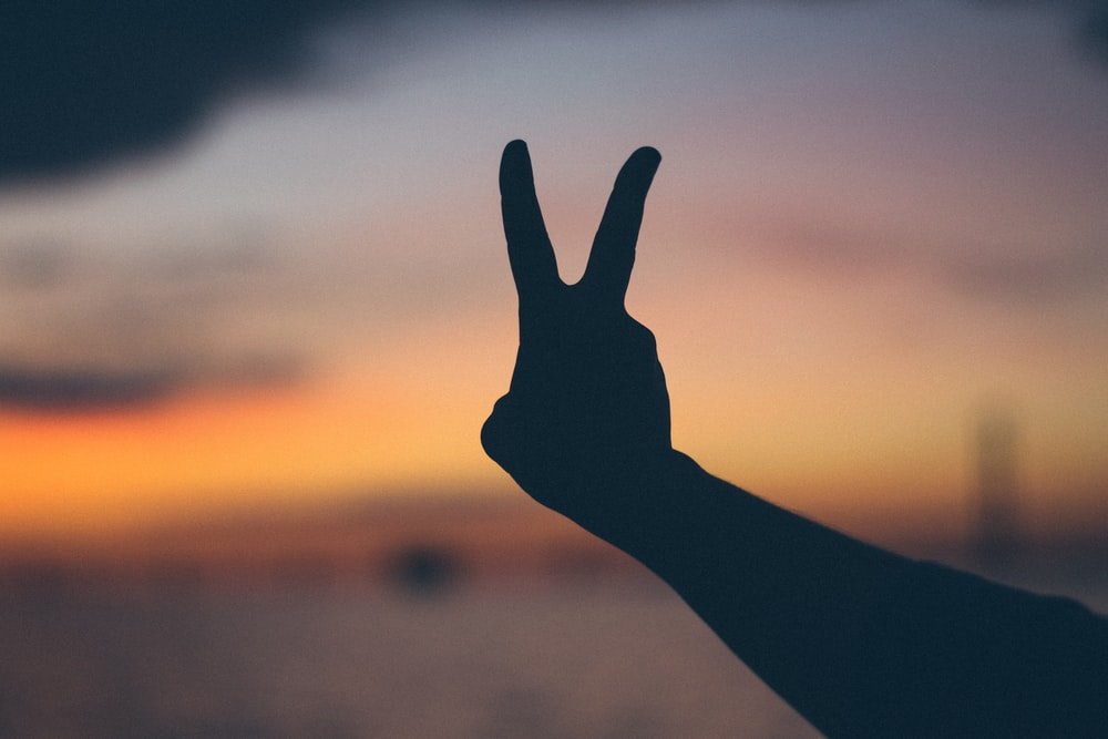 silhouette photography of right person's hand doing peace hand gesture