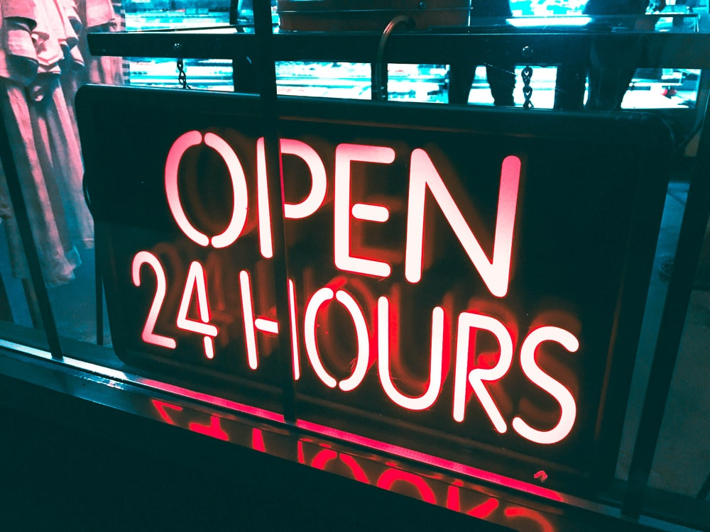 Open 24 Hours neon signage