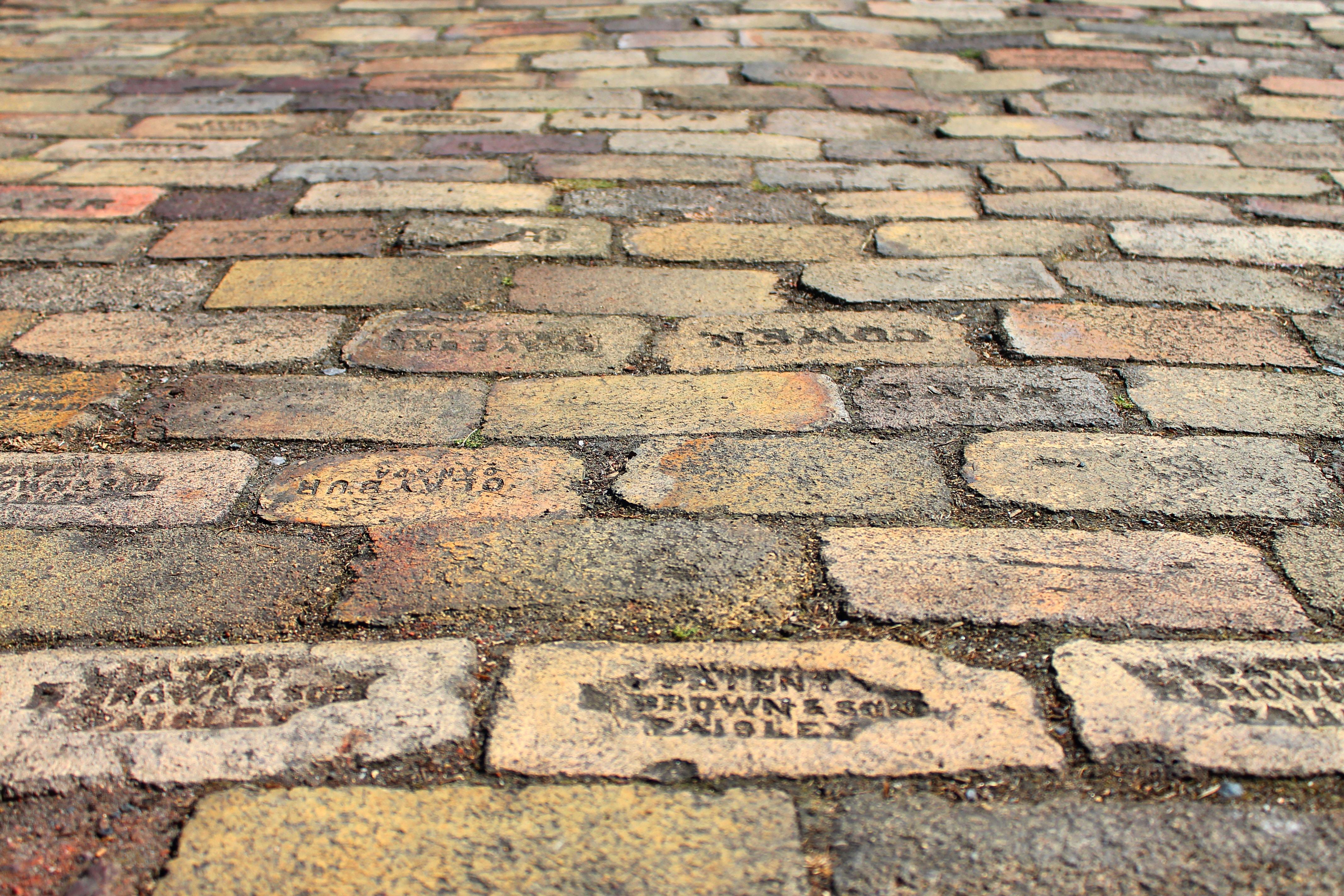 engrave text concrete pavements