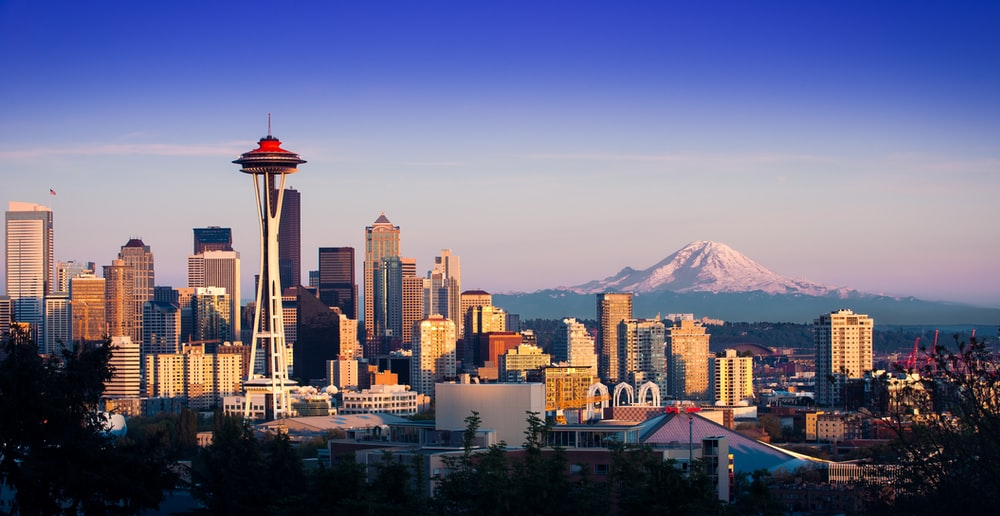 aerial photography of Seattle skyline