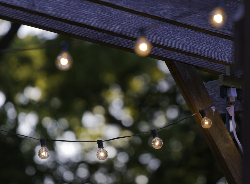 white string lights in tilt shift photography