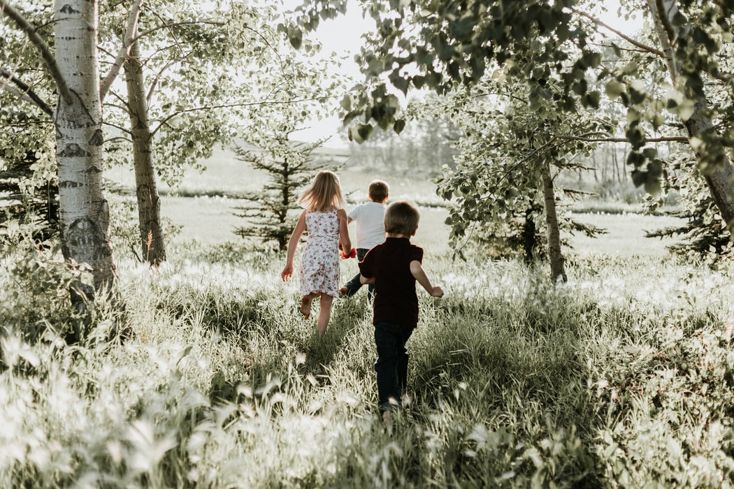 siblings running in field