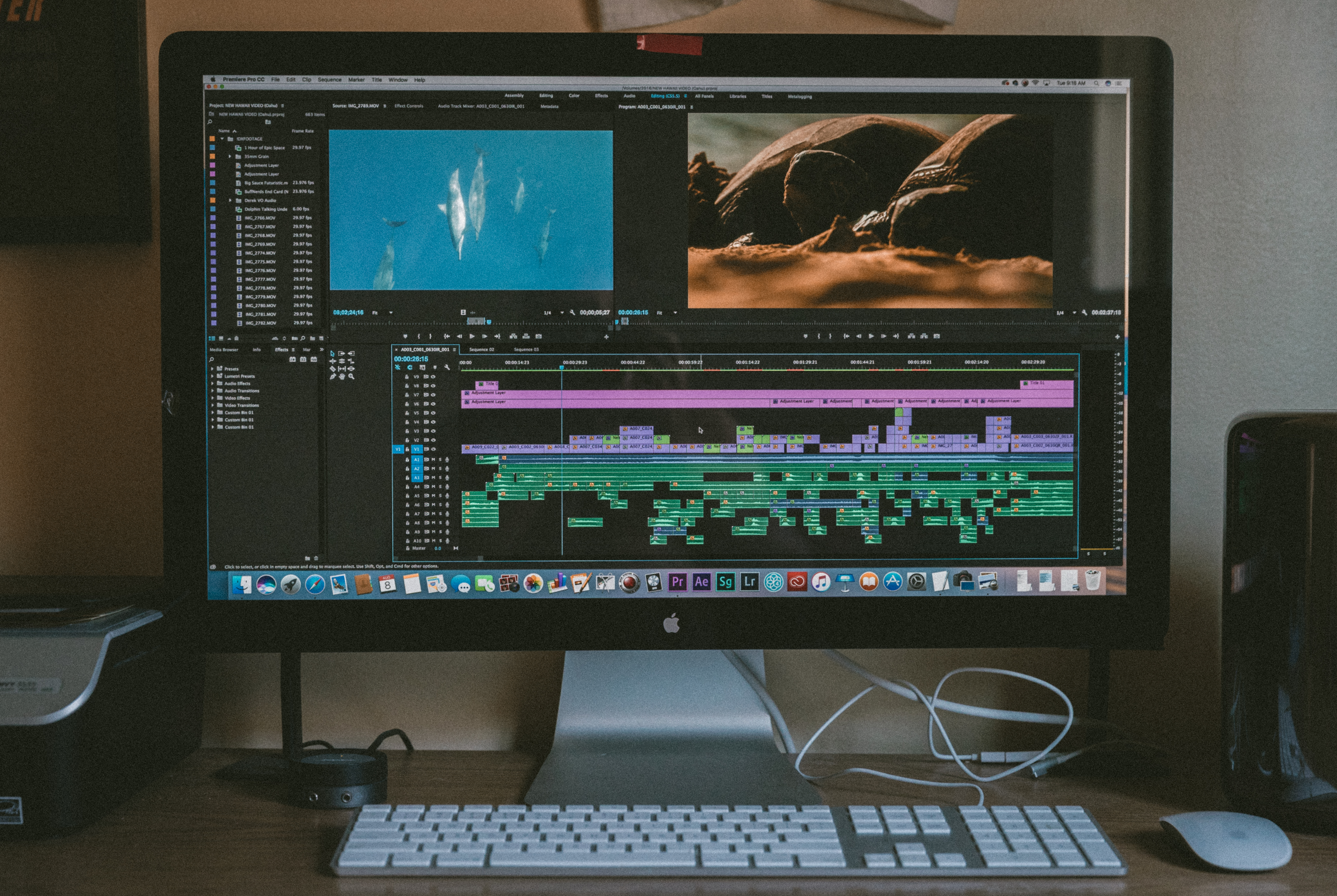 Photograph of a Mac computer running video editing software