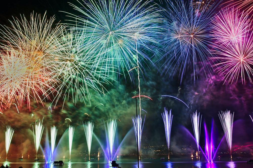 assorted-color fireworks illustration