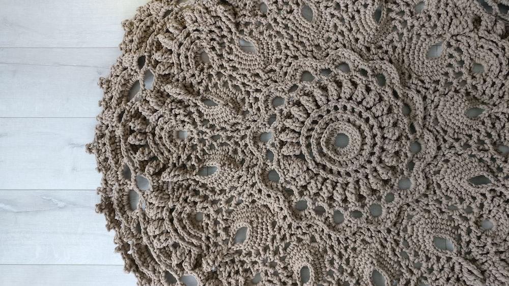 round brown knit textile