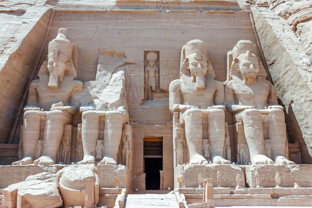ancient pharaoh sitting monument