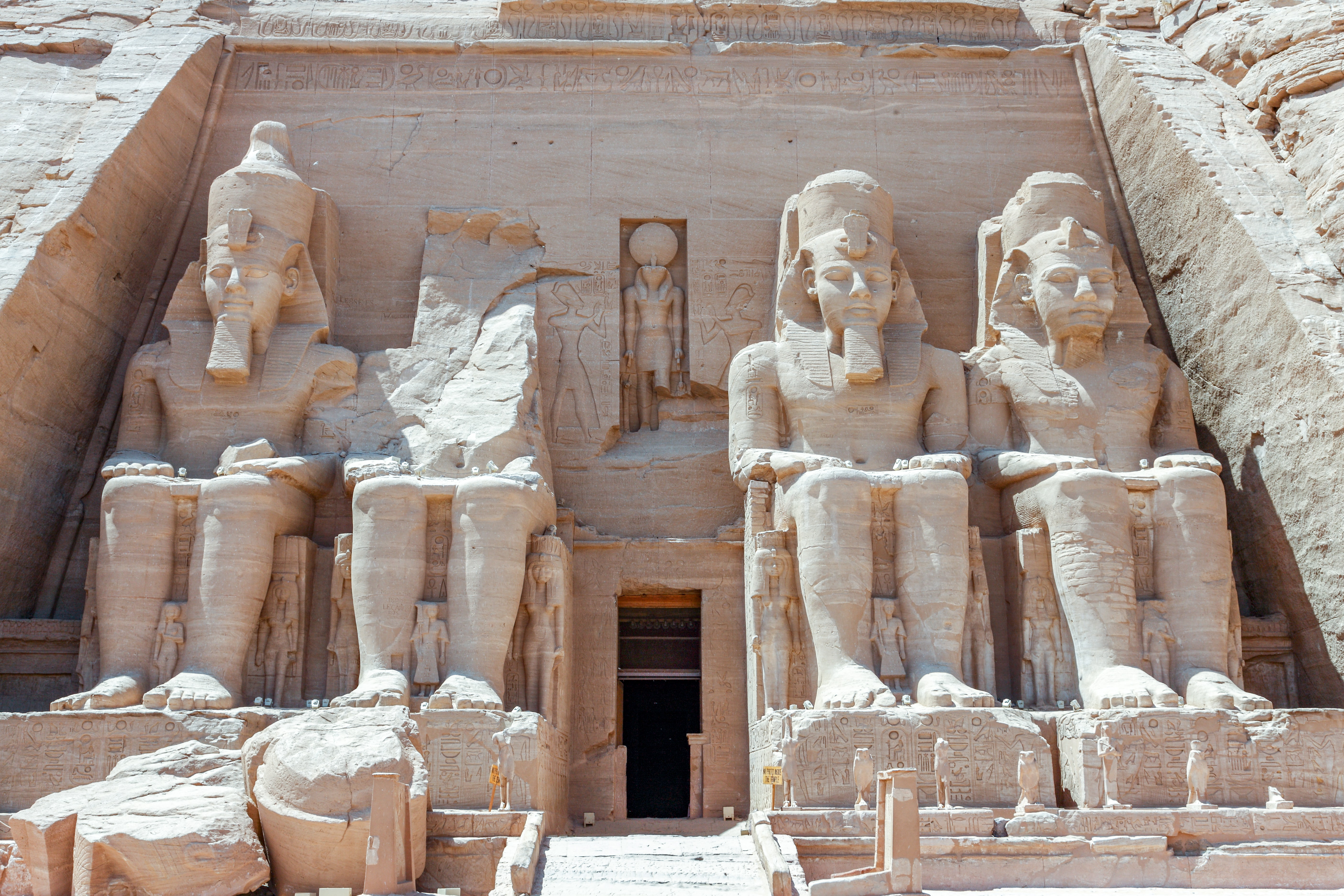 The entrance to the Abu Simbel rock temples in Nubia, south Egypt, during the daytime