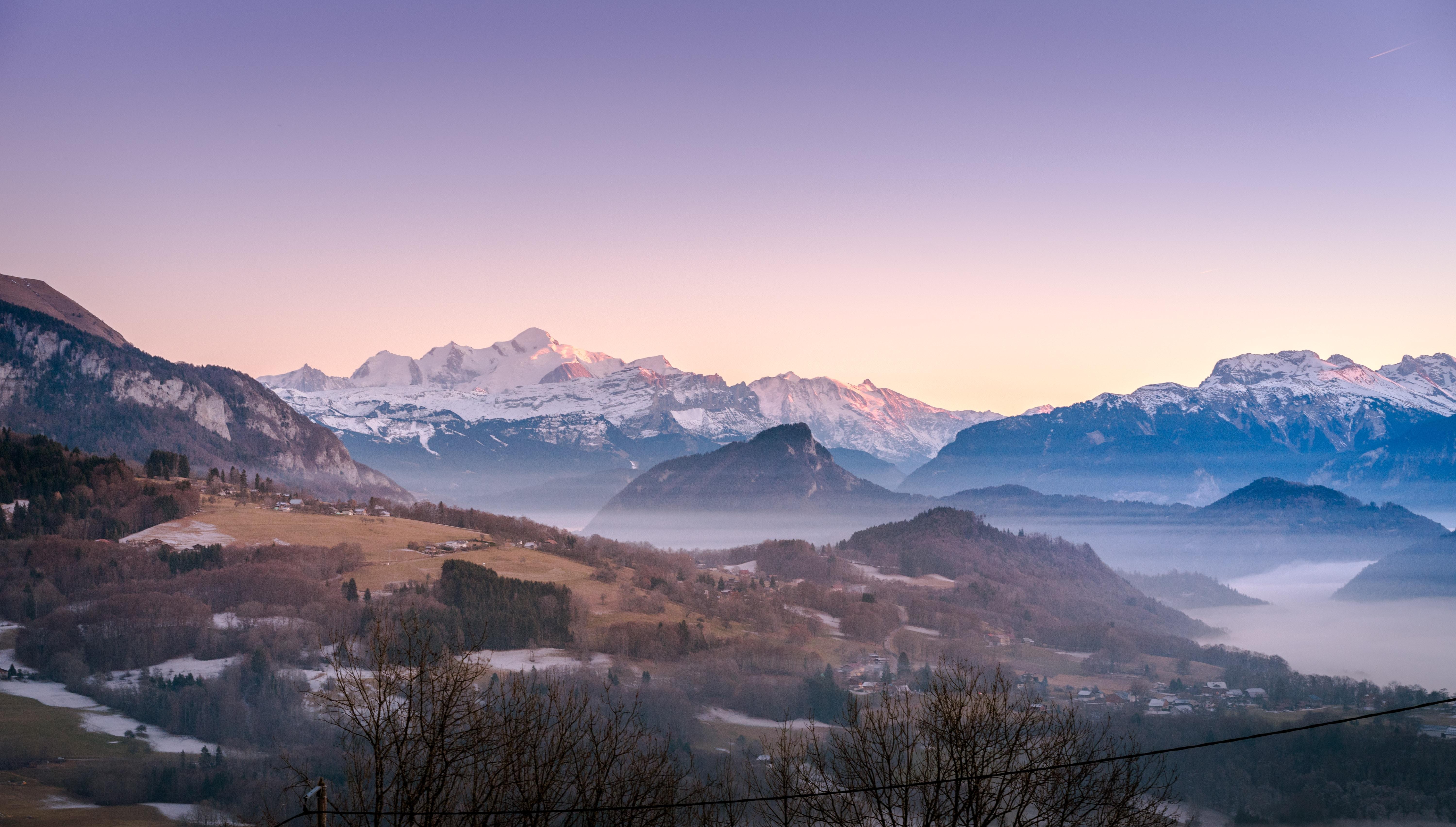 panoramic photography of fog mountain