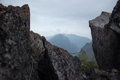 grey rock formations near green leaf plant amazing zoom background