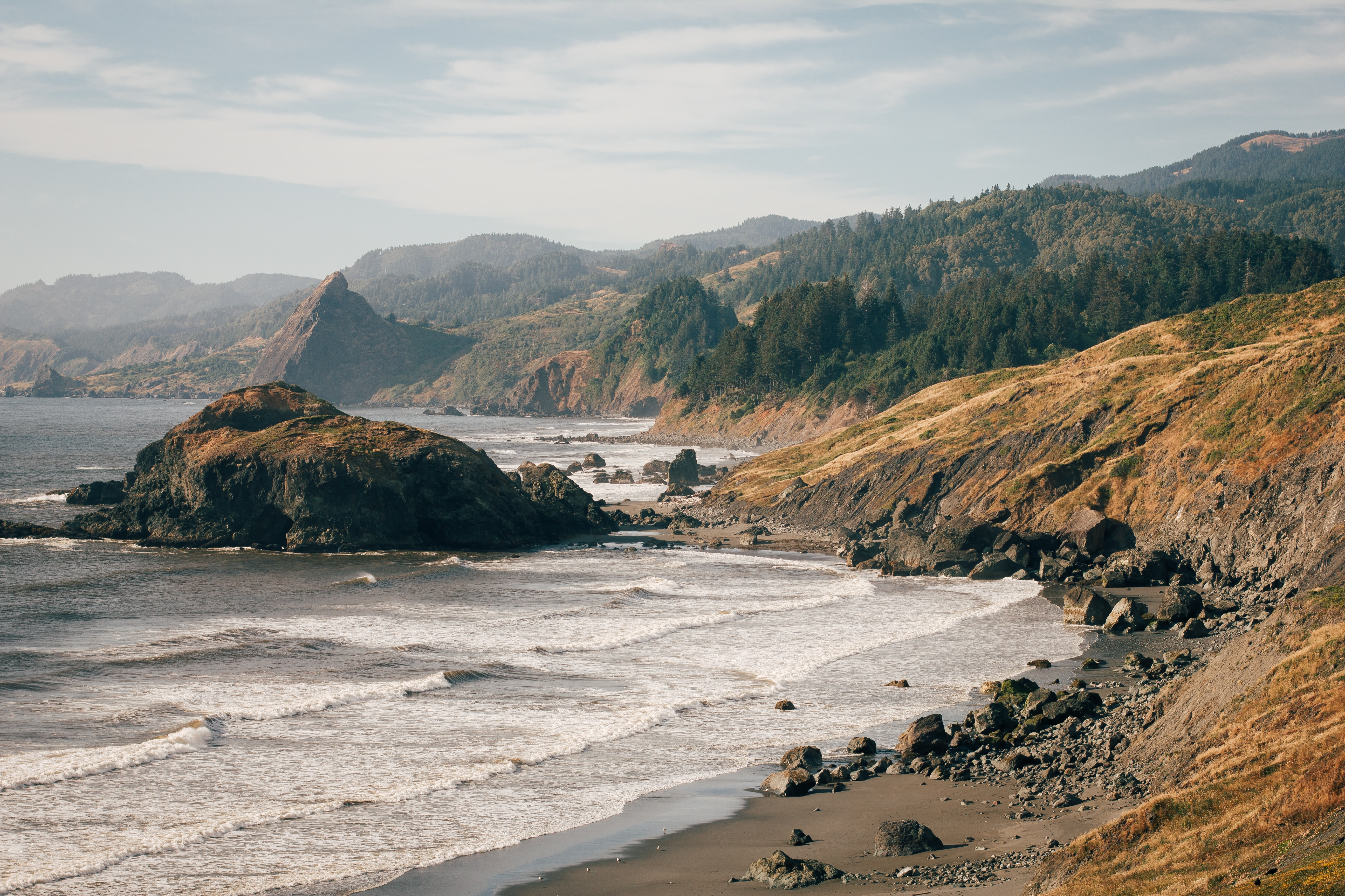 Overview of the rocky coastline at the Gold Beach