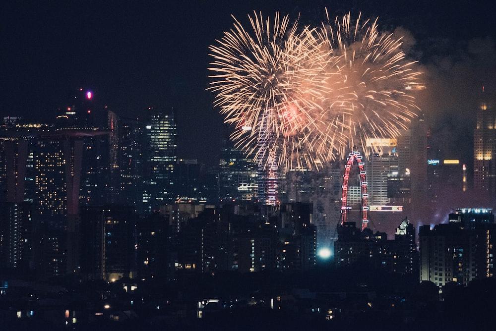 time lapse photography of orange fireworks