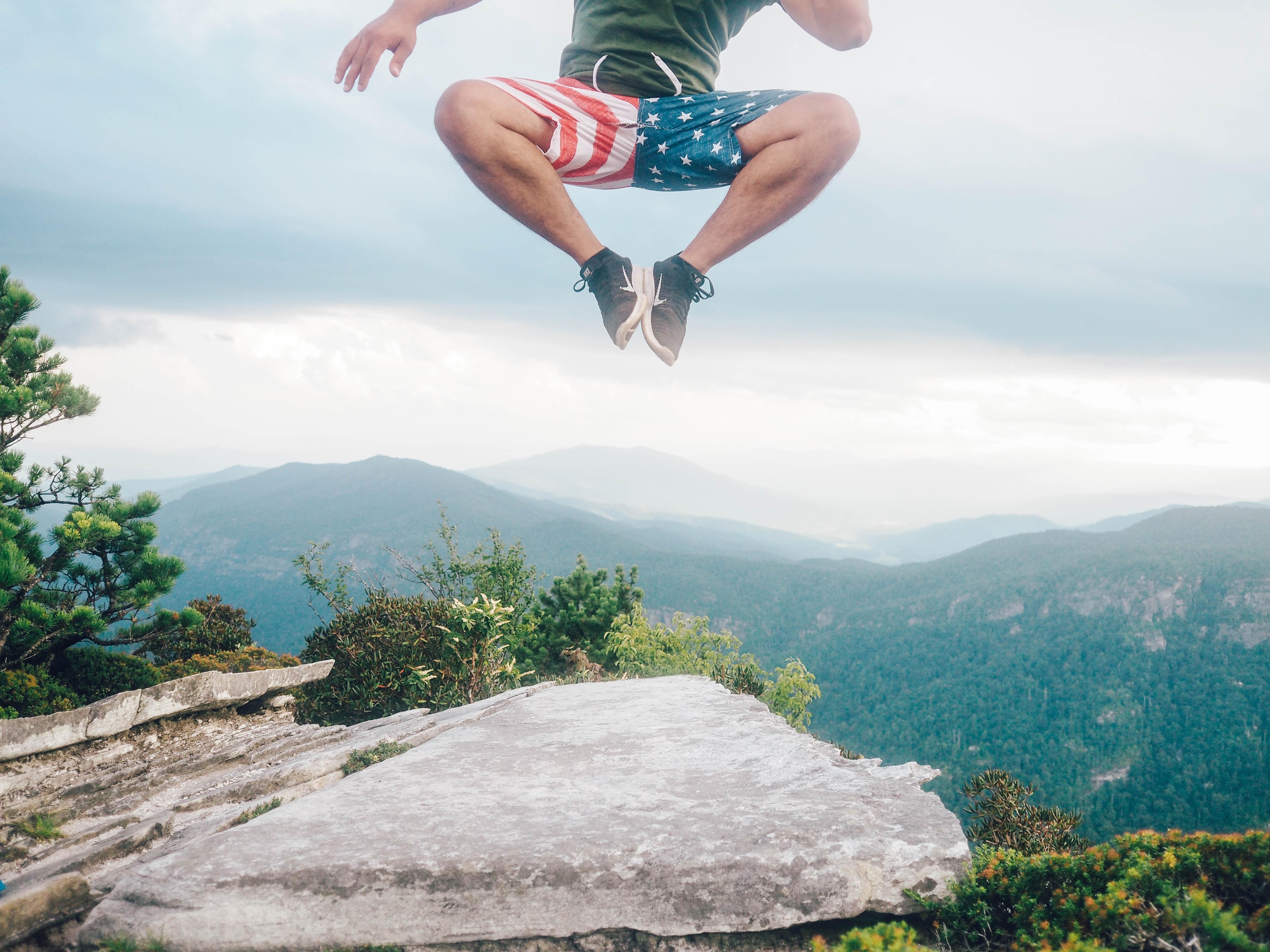 man jumpin in mid air