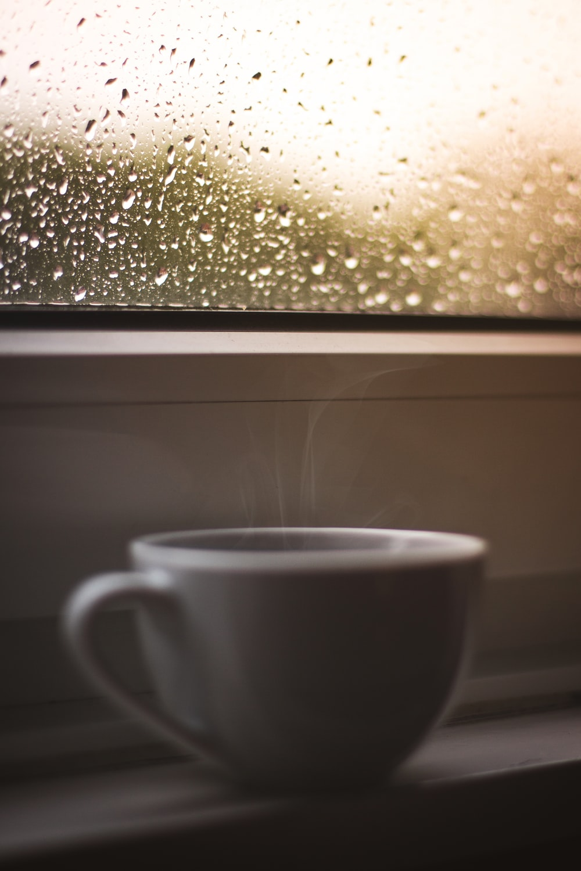 selective focus of water dew on window