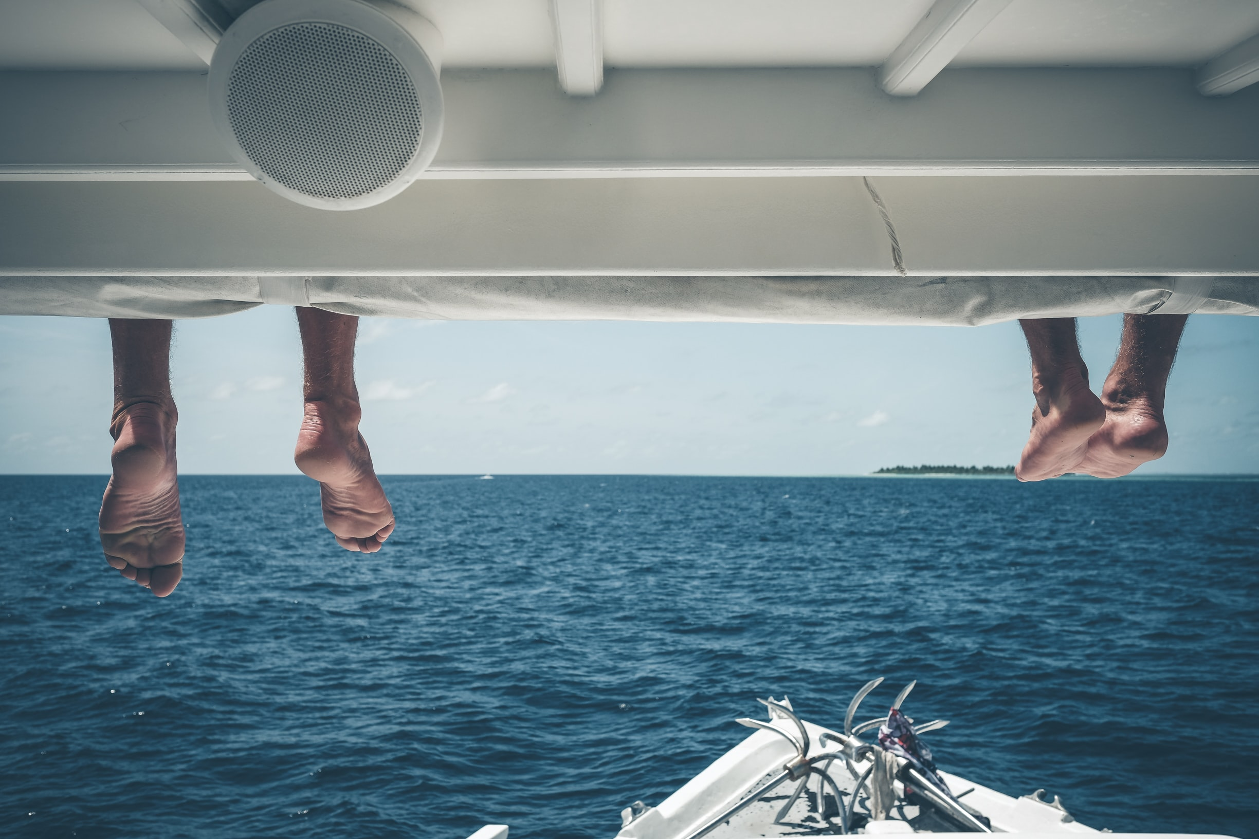 two person on powerboat deck