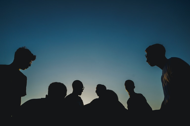 silhouette photo of people