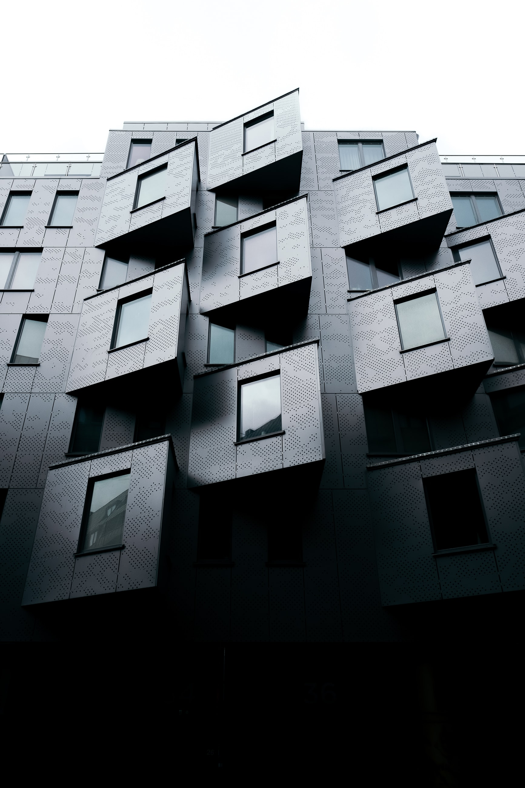 Protruding windows in a modern building facade in Gothenburg
