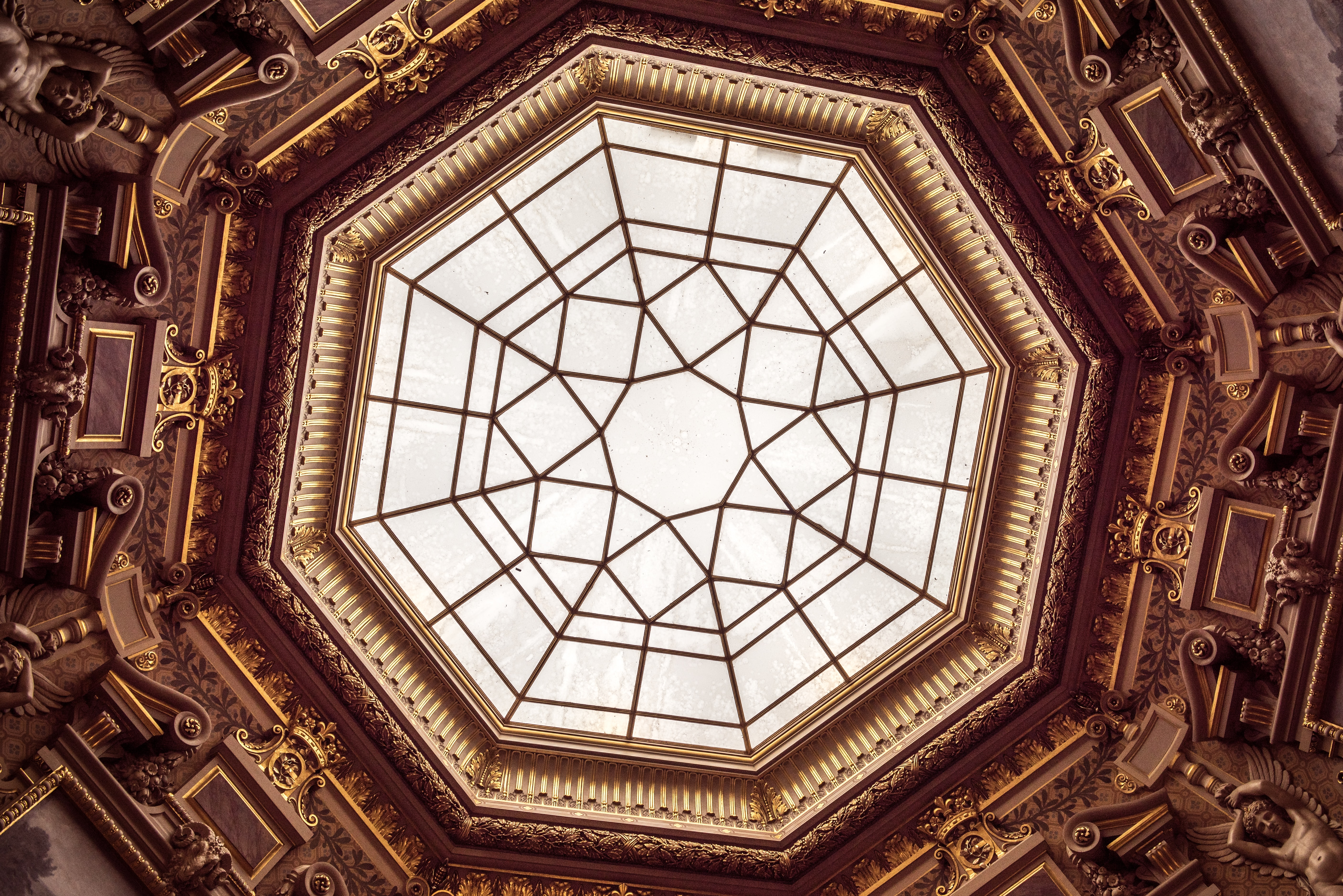 View of a dome in a richly adorned building