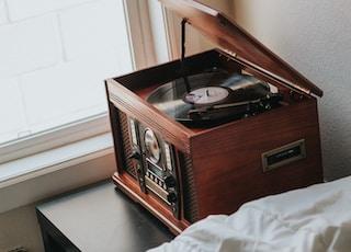 brown wooden radiogram