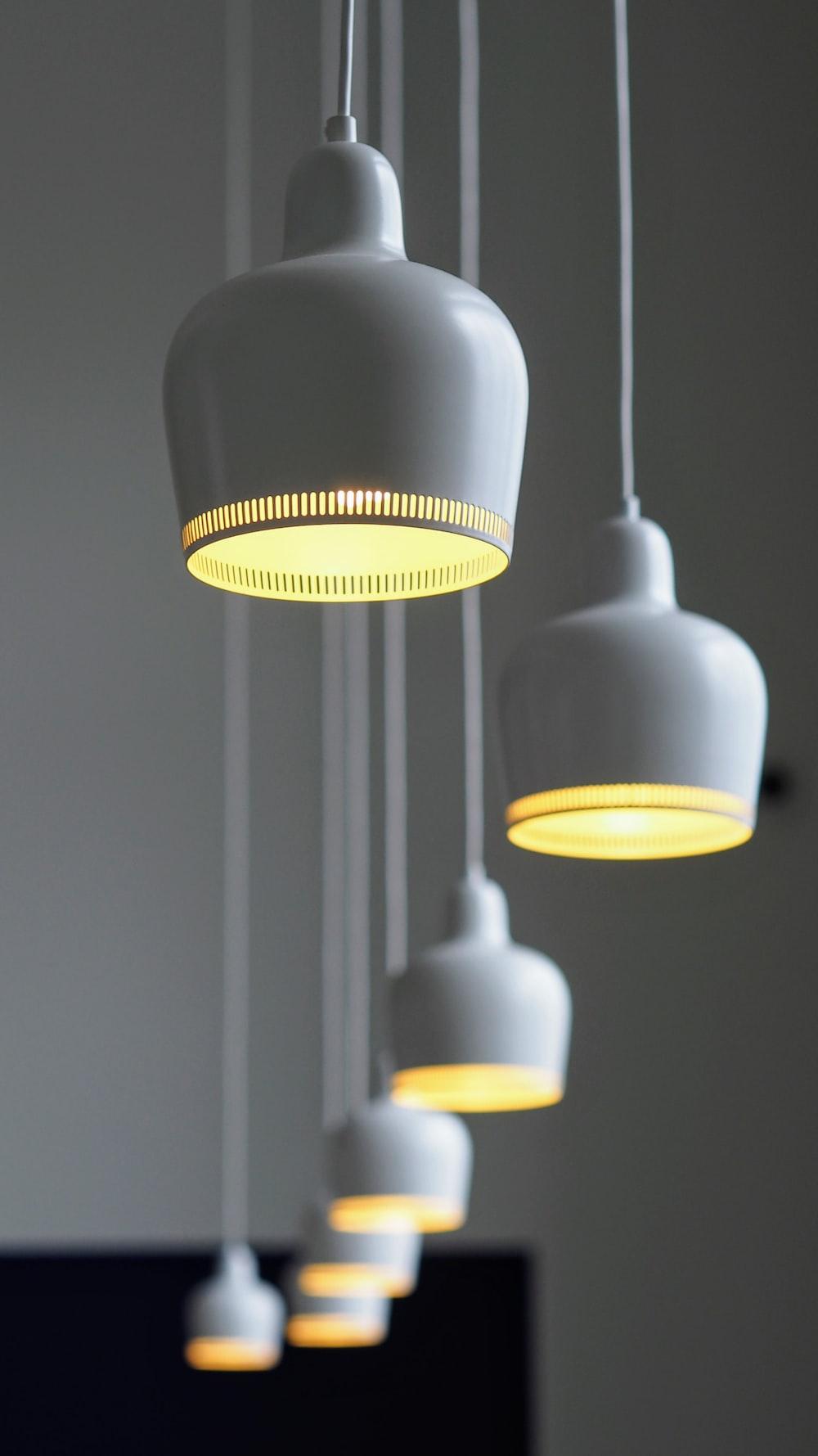 line of chandeliers