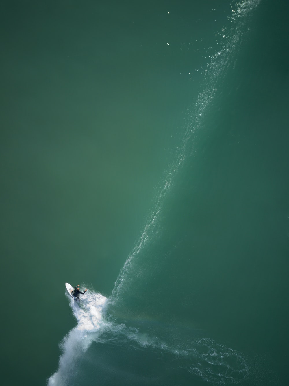 aerial view of surfer