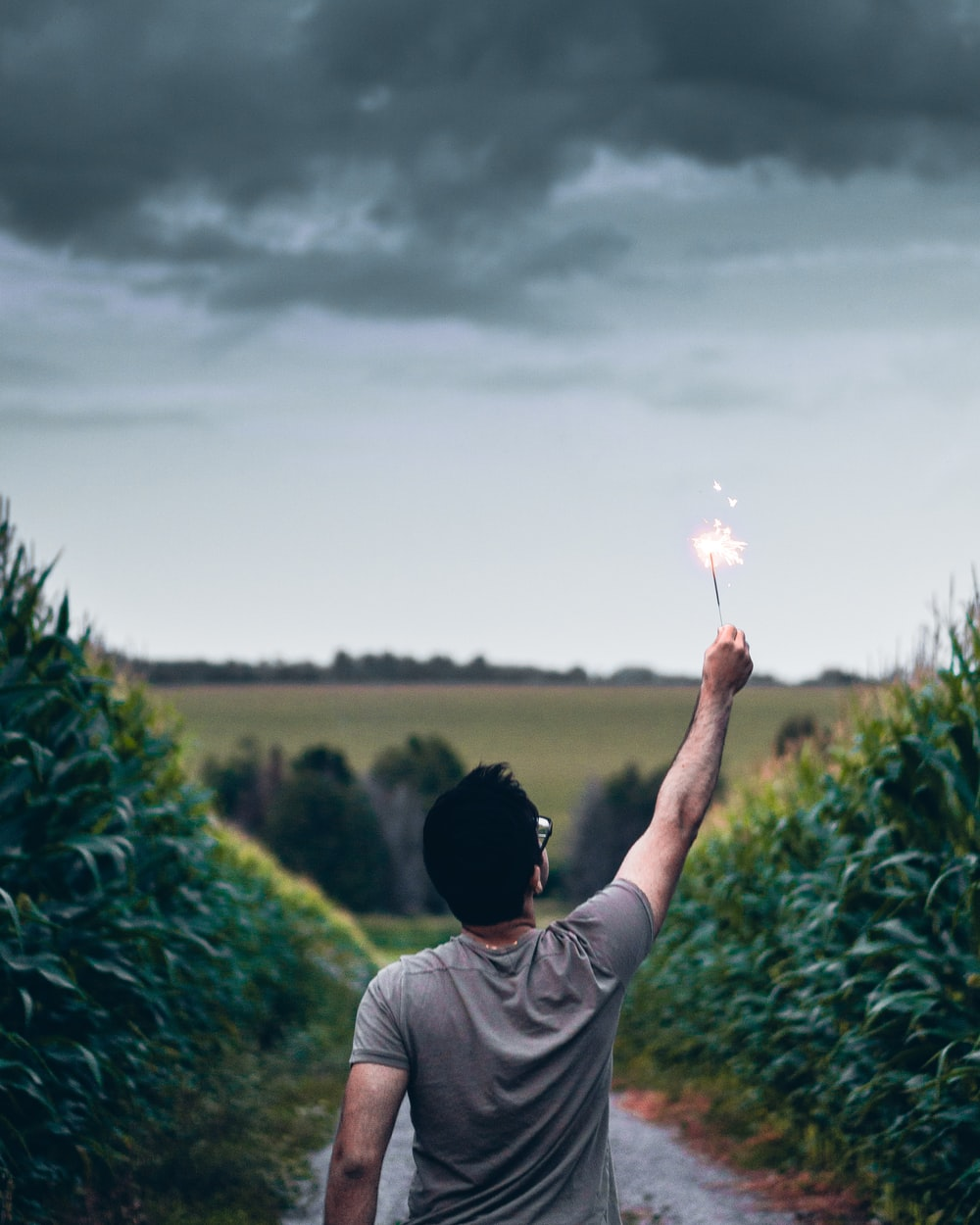 man standing on pathway holding sparkler