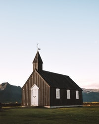 black and white wooden church