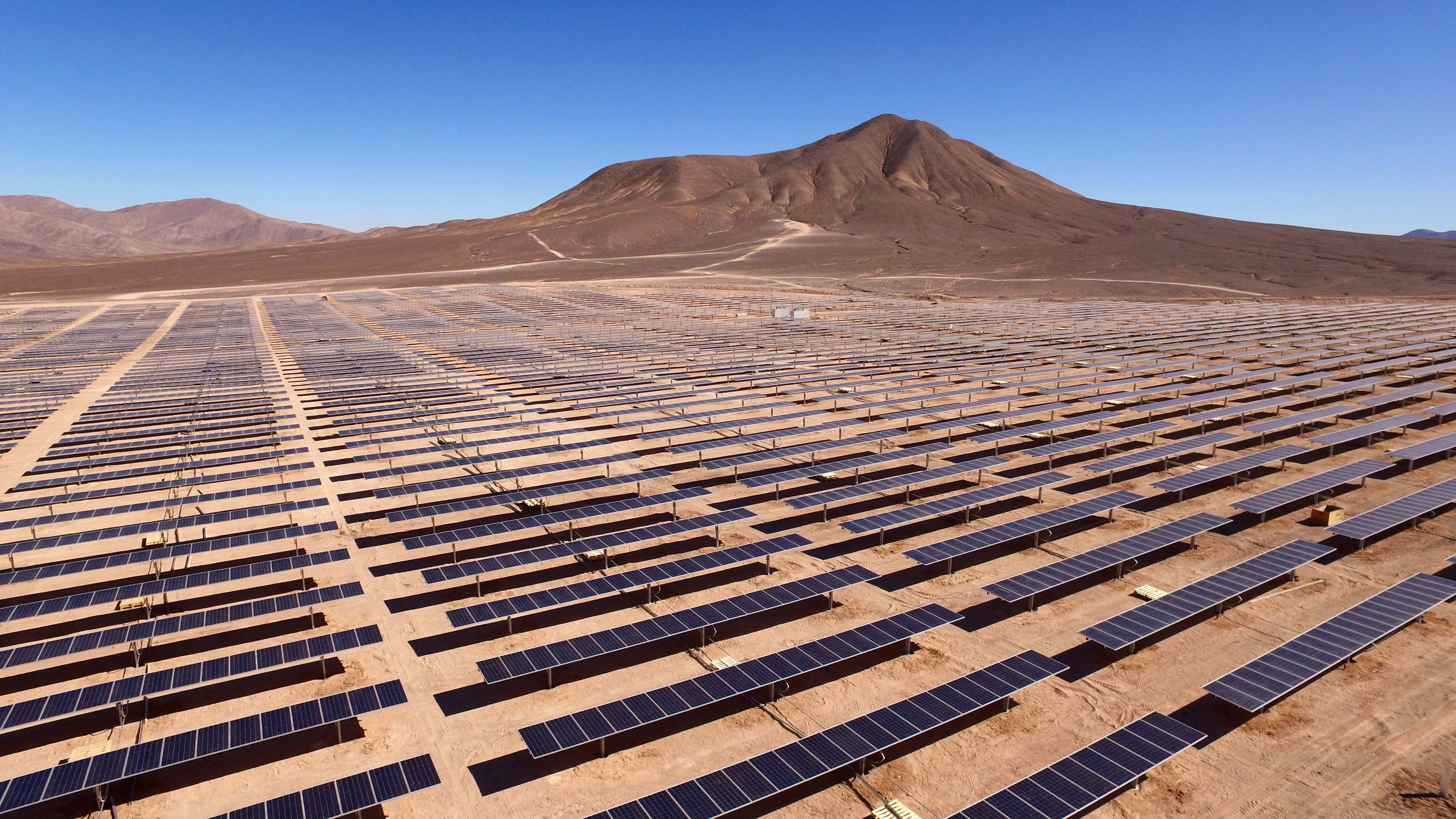 A solar farm in a scorching hot desert in Chile