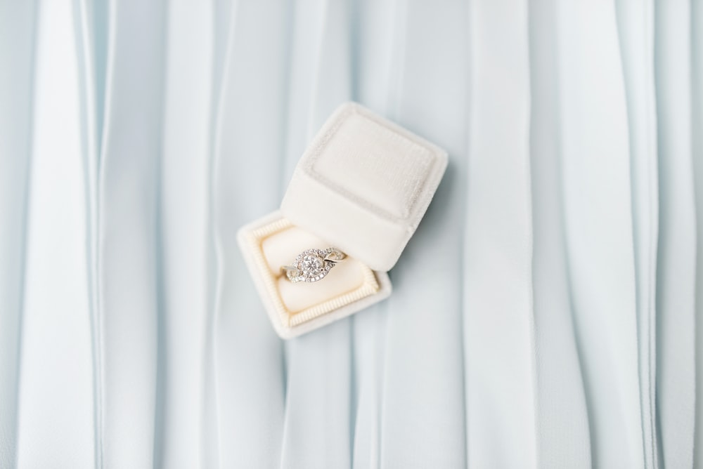 silver-colored ring on box