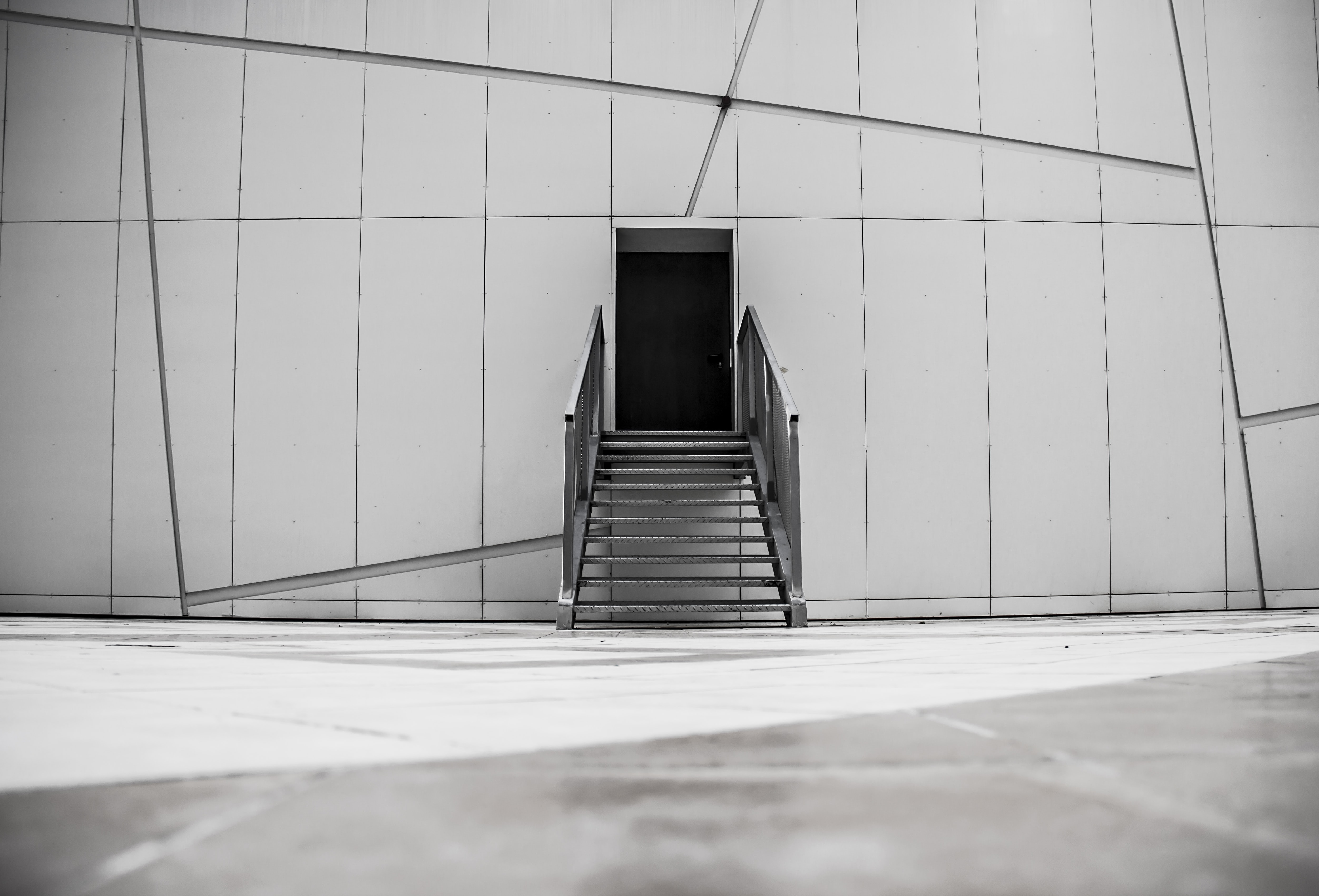 shallow focus photography of gray stair