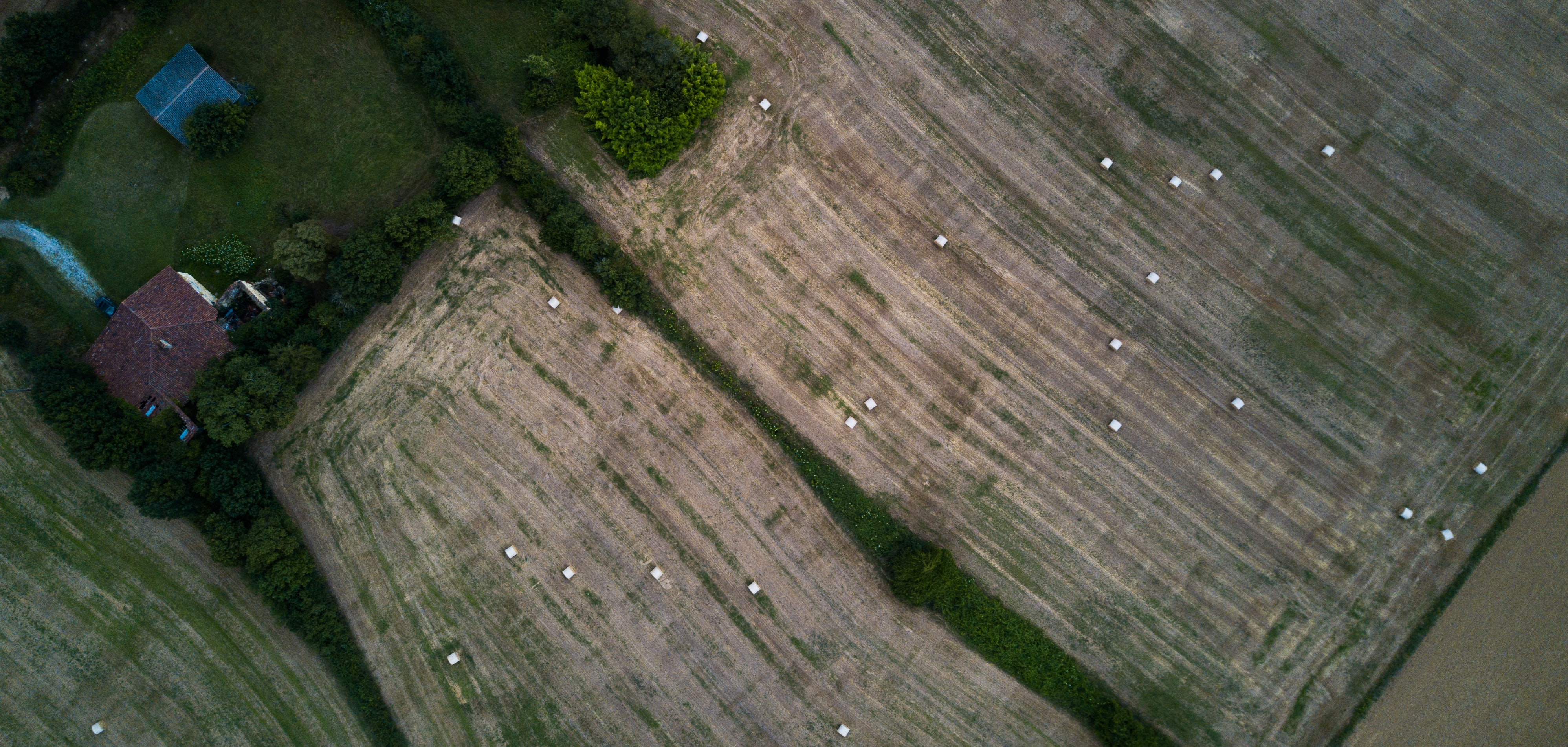 aerial view of farm and house