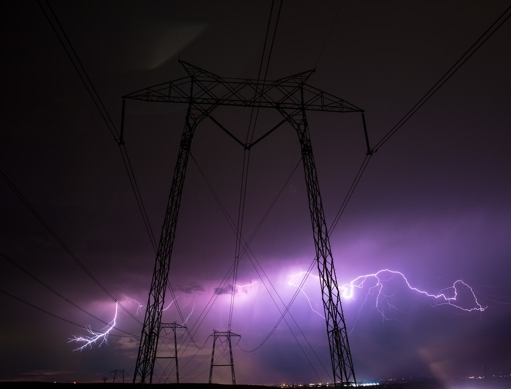 transmission tower and lightnings