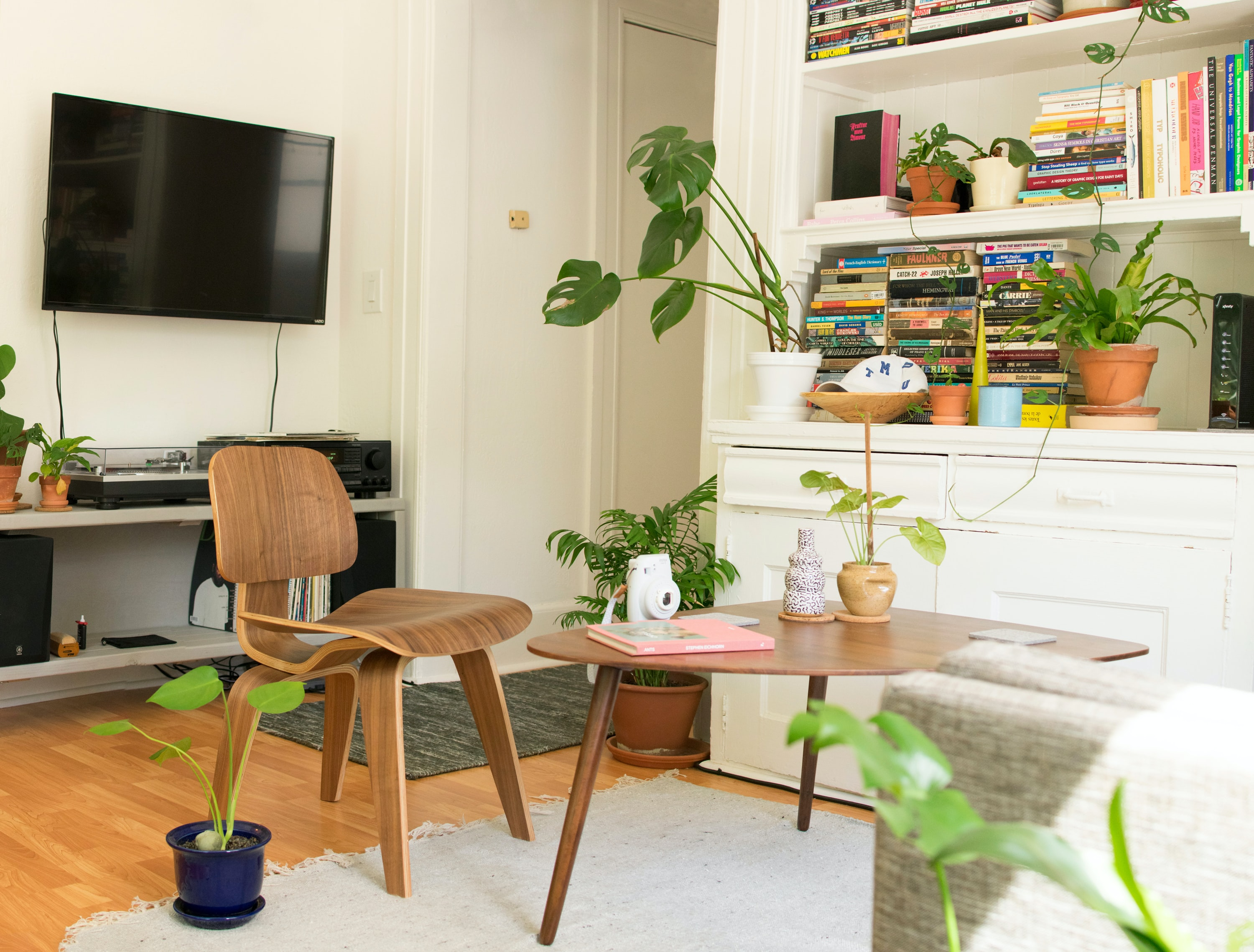 Modern living room with wooden furniture, plants on the floor, a tv on the wall, and bookshelves in the background