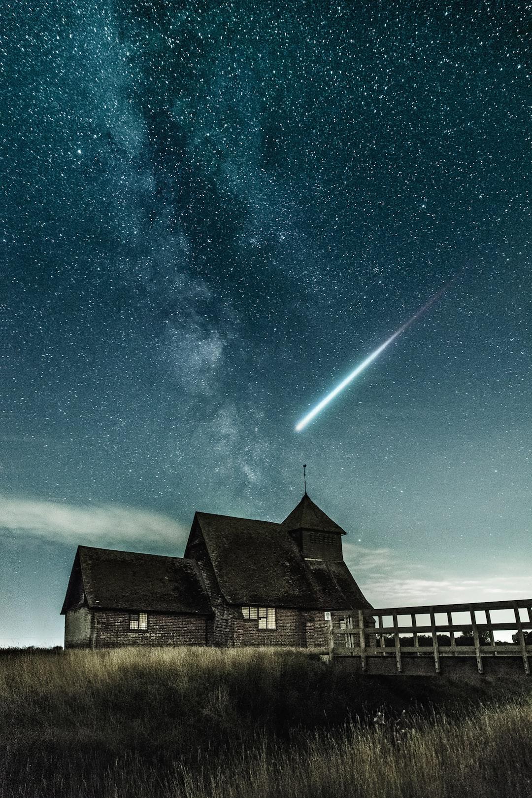 """Night sky over the church"""