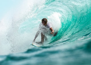 time lapse photography surfer in wave water