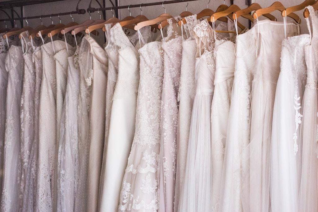 women's white dress on hangers