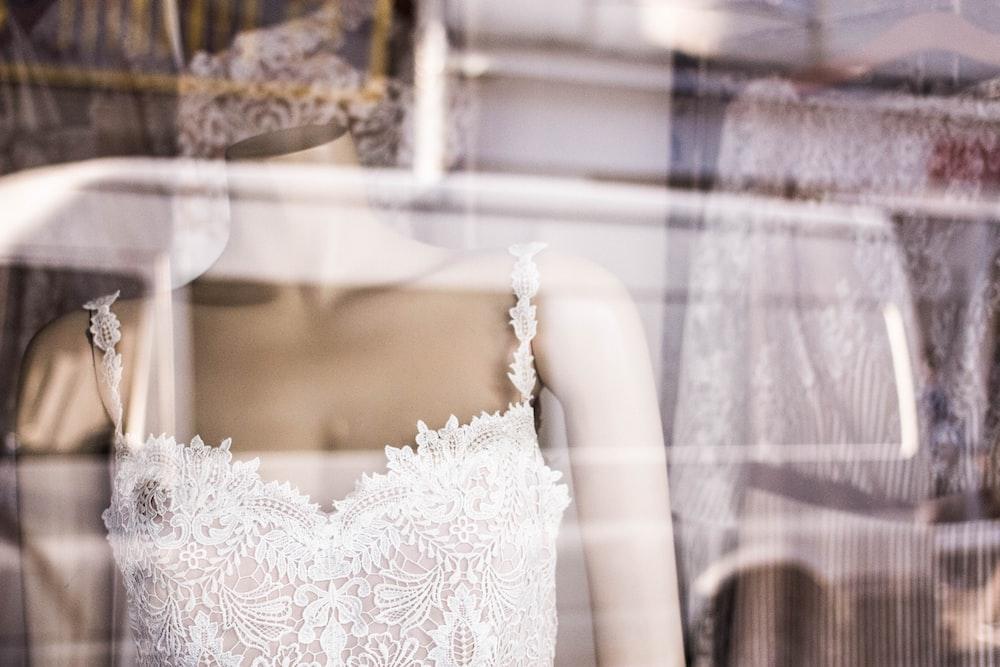 mannequin wearing lace dress