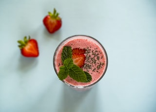 strawberry juice on white surface
