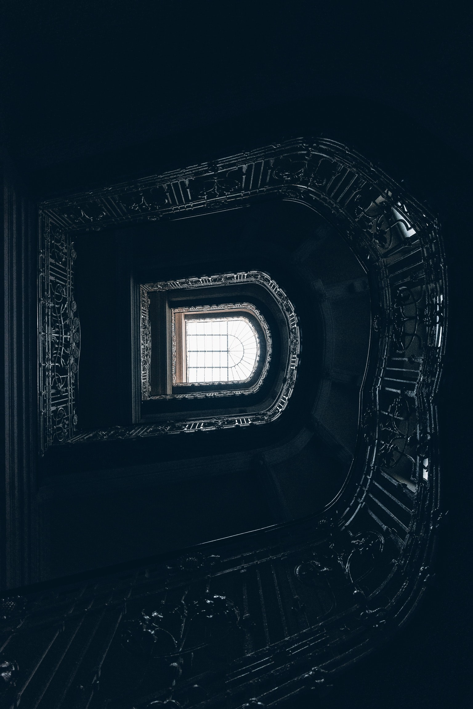 low-angle photography of gray up stair