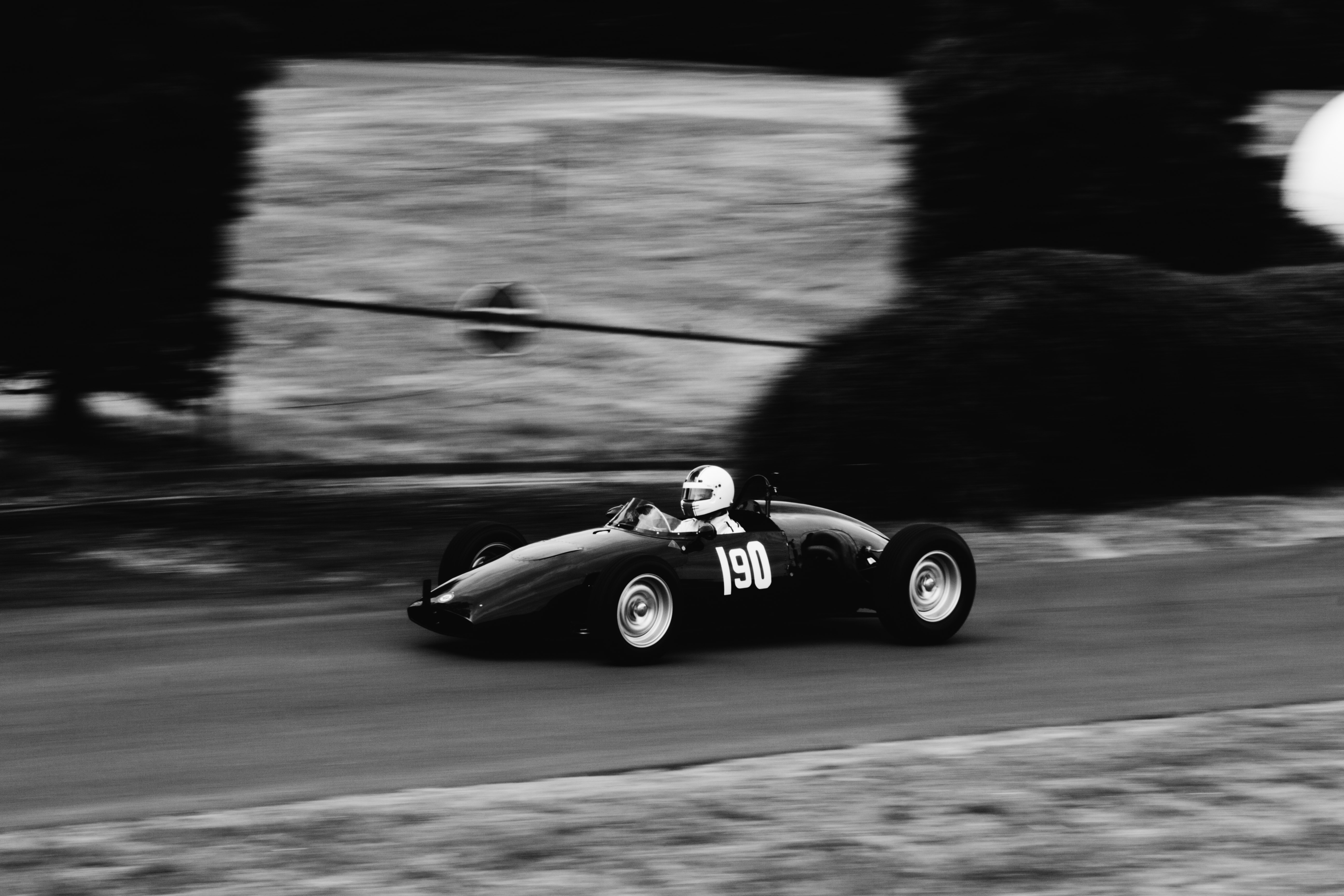 panning photography of racer