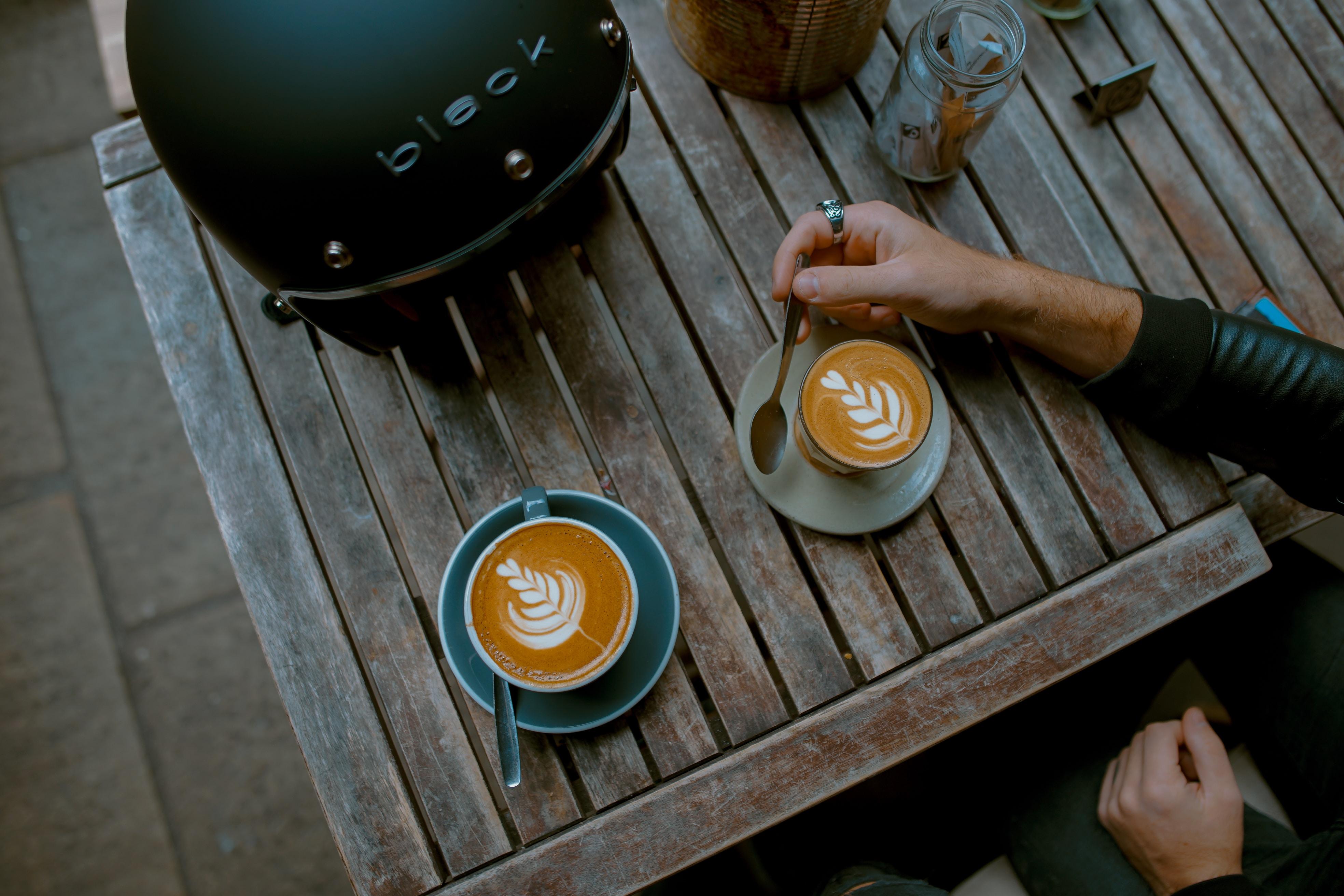 cappuccino near helmet